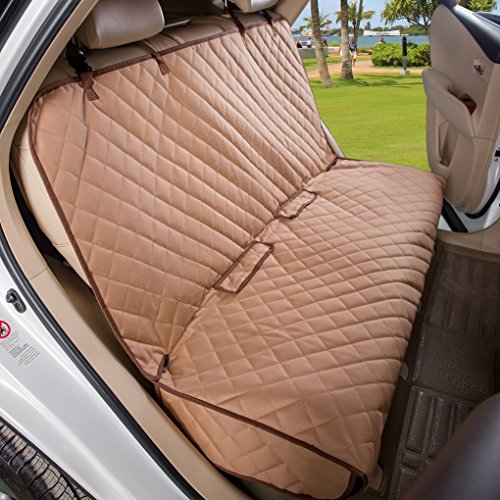 VIEWPETS Bench Car Seat Cover Protector - Waterproof, Heavy-Duty and Nonslip Pet Car Seat Cover for Dogs with Universal Size Fits for Cars, Trucks & SUVs(TAN)