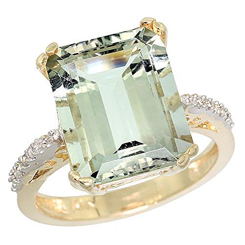 Ring Amethyst Gold Green (10K Yellow Gold Genuine Diamond Green Amethyst Ring Emerald-cut 12x10mm size 7)