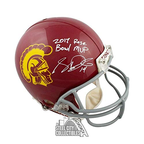 Sam Darnold 2017 Rose Bowl Mvp Autographed Signed Memorabilia Usc Proline Full Size Football Helmet Bas - Certified Authentic