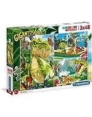Clementoni - 25249 - Supercolor Puzzel - Gigantosaurus - 3x48 stukjes - Made in Italy - puzzel kinderen vanaf 4 jaar
