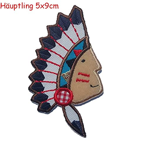 2 Sew On Embroidery Patches Applique Raspberry 6x7 and Indian chieftain 5x9cm - DIY for fabric iron-on clothing by TrickyBoo Design (7 Dots Studio)