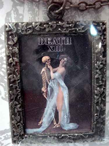 Tarot Card Skeleton with Girl Halloween Necklace By No Monet