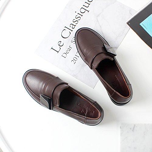 Angrousobiu Une élégante télévision mis les pieds des chaussures de base unique de sexe féminin dans l'printemps rétro occasionnels petits,37, chaussures noires.
