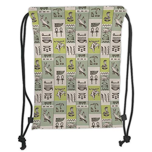 New Fashion Gym Drawstring Backpacks Bags,Egyptian,Historical Papyrus Manuscripts Inspired Hieroglyphs Animals,Tan Reseda Green Yellow Green Soft Satin,Adjustable String Closure,T -