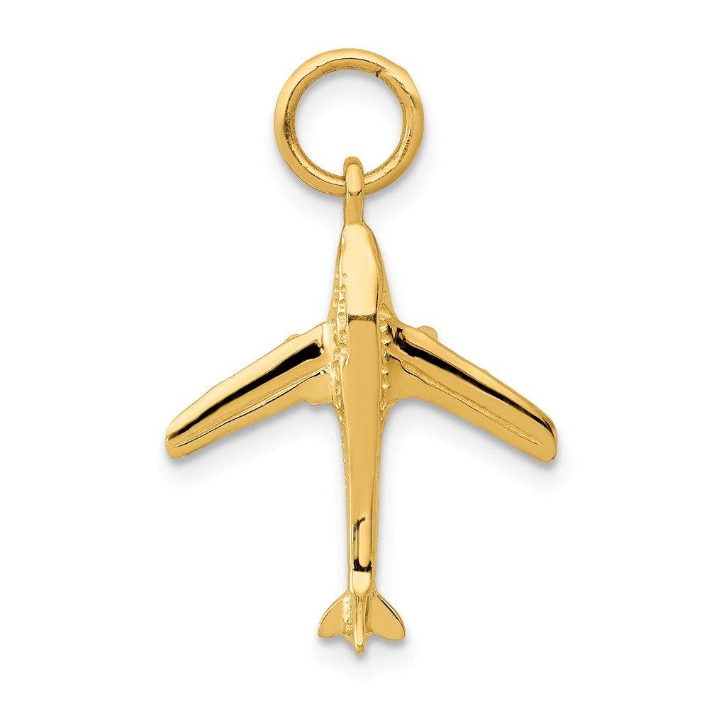 14K Yellow Gold Jet Airplane Charm 23x16mm