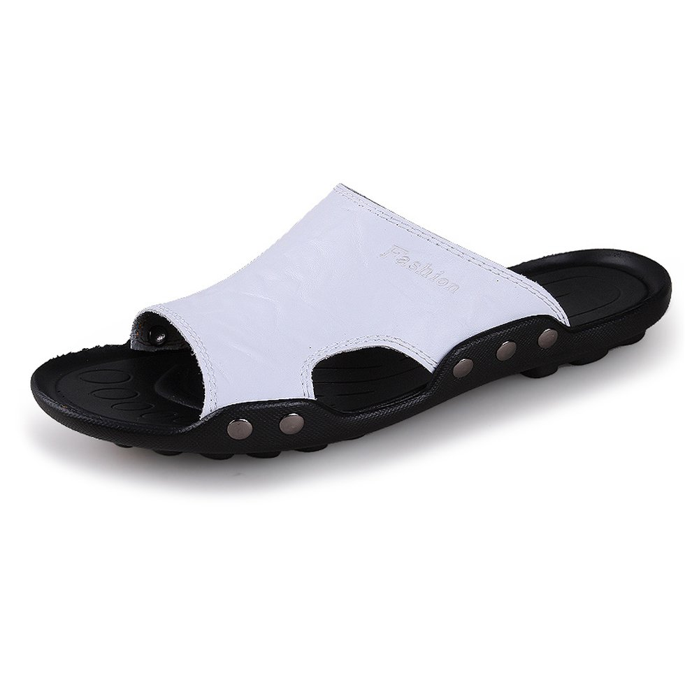 Mens Sandals, Men's Genuine Cowhide Leather Beach Non-Slip Slippers Casual Non-Slip Beach Sole Sandals Shoes (Color : White, Size : 7.5MUS) 7.5MUS|White B07D8Z23W2 19c014