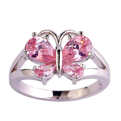 Psiroy 925 Sterling Silver Grace Womens Band Charms Gorgeous 6mm4mm Pear Cut Created Pink Topaz Filled Ring