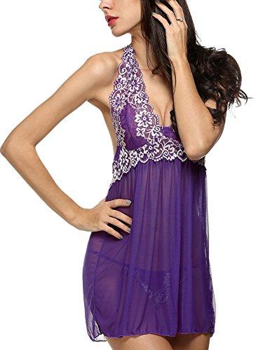 Halter Cuello Set G Vestido Noche de Lady Patchwork Bordado Encaje de string Mini púrpura Ropa de begorey de Ix0Cqgwp