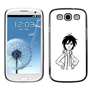 Smartphone Protective Case Hard Shell Cover for Cellphone Samsung Galaxy S3 I9300 / CECELL Phone case / / Angry Boy Pencil Drawing Art Black Hair /