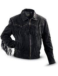 Men's Fringed Suede Leather Short Jacket - 221-409
