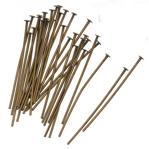 200 PCS Flat Head Pins Jewelry Making Needles Earrings Beading Findings Bracelets Necklaces Beads Clasp Connector Accessories Materials (Bronze, Head Pin 60 mm)