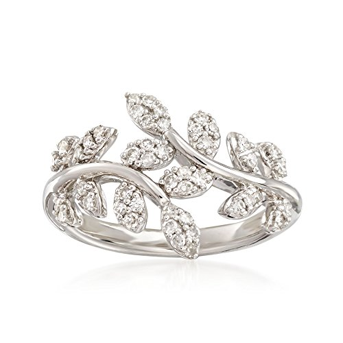 - Ross-Simons 0.33 ct. t.w. Diamond Laurel Leaf Bypass Ring in Sterling Silver