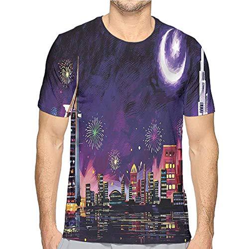 t Shirt Landscape,Night Dubai Skyscraper Printed t Shirt