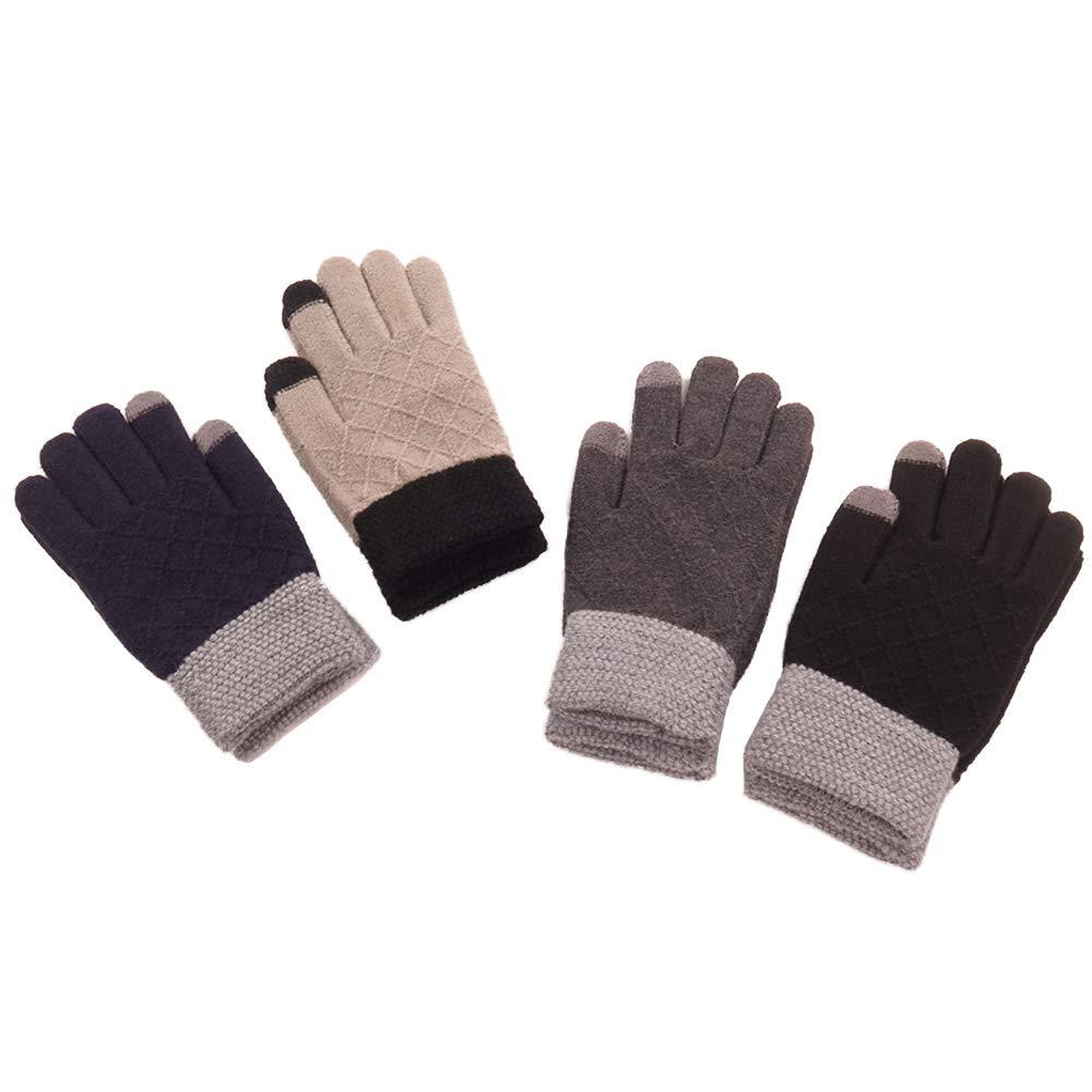 Four Pairs of Winter Warm Knit Touch Screen Gloves Men Women Kids