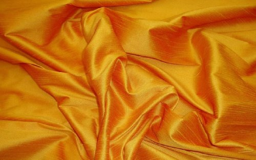 Honey Gold Shantung Dupioni Faux Silk Fabric Per Yard