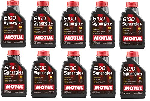 Motul 108646 Set of 10 6100 Synergie+ 10W-40 Motor Oil 1-Liter Bottles