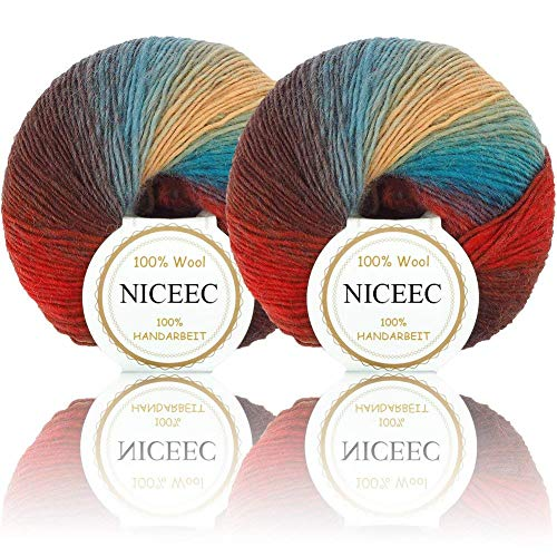 NICEEC 2 Skeins Soft Rainbow Yarn 100% Wool Gradient Multi Color Yarn for Crocheting Knit Total Length 180m×2(196yds×2,50g×2)-14 (Knitting Knitting Wool Yarn)