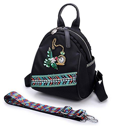 MSZYZ Tissu Oxford à Double Usage Minibackpack à Bandoulière Sac Fleurs Brodées Style five