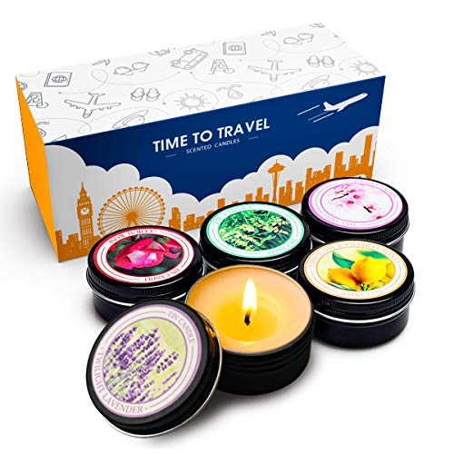 YMING Scented Travel Tin Candles, 100% Natural Soy Wax, Set Of 5 Aromatherapy (Lavender, Vanilla bee, Coral rose, Lemon verbena & mandarin, Spring fresh) - Gift For - Tin Holiday Travel
