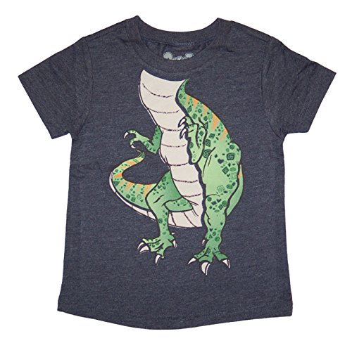 Peek-A-Zoo Toddler Become an Animal Short Sleeve T shirt - Tyrannosaurus Rex Navy Heather (4T) -