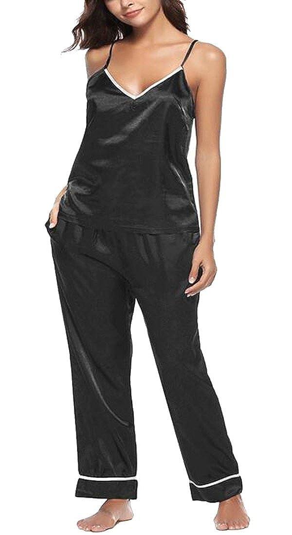 17fe565c9d WSPLYSPJY Womens Sexy Summer Satin Pajamas