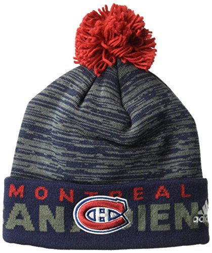 fan products of NHL Montreal Canadiens Adult Men Pro Authentic Cuffed Pom Knit, One Size, Navy