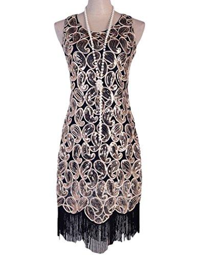 (kayamiya Women's 1920s Sequin Paisley Pattern Fringe Gatsby Flapper Dress L)