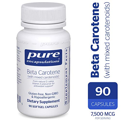 Pure Encapsulations - Beta Carotene with Mixed Carotenoids - Hypoallergenic Antioxidant and Vitamin A Precursor Supplement - 90 Softgel Capsules Beta Carotene Softgels Antioxidant Vitamins