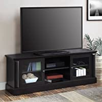 Barston Media Console for TVs up to 70 l Adjustable Shelves l Glass Door Panels