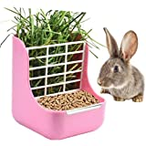 STKYGOOD Rabbit Feeder Bunny Guinea Pig Hay Feeder,Hay Guinea Pig Hay Feeder,Chinchilla Plastic Food Bowl Pink