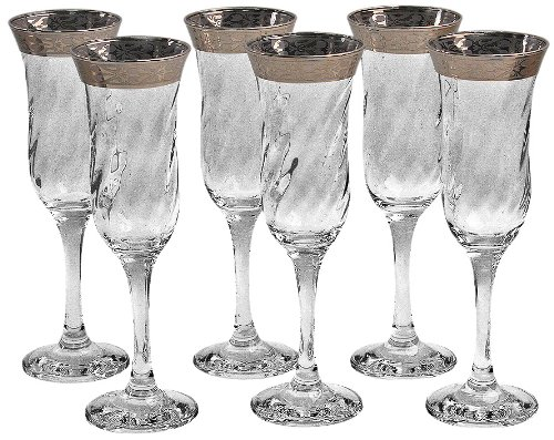 Lorenzo Silver Border Stemmed Flute Glass, Set of 6