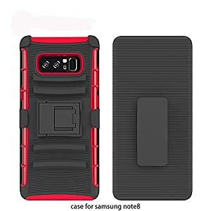 Galaxy Note 8 Case, Asstar Soft TPU Hard PC Shockproof Full Body Heavy Duty Rugged Protective Cover with Holster Belt Clip + Built-in Kickstand for Samsung Galaxy Note 8 2017 (Black+Red)