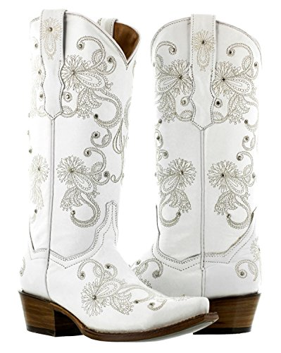 Cowboy Professional - Women's I Do White Western Bridal Cowboy Boots Snip Toe 8.5 BM