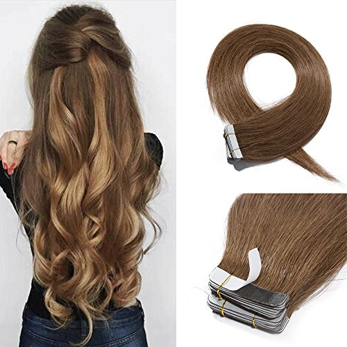 18 Inch Tape in Hair Extensions Remy Human Hair #06 Light Brown Long Straight Hair Seamless Skin Weft Invisible Double Sided Tape 20pc/pack 30g +10 Free Tape Bonds (Wavy Tape In Real Hair Extensions)