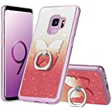 Samsung Galaxy S9 Glitter Case for Women/Girls/Mather,Luxury Bling TPU Rubber Protective Shockproof Anti-Scratch Cover Case with Ring Holder for Apple Samsung Galaxy S9[Red]
