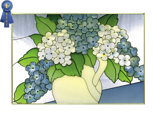 French Blue Hydrangeas Horizontal Stained Glass Panel