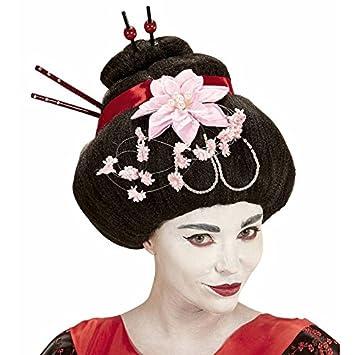 Peluca geisha con flores y baquetas, multicolor, One size: Amazon.es: Juguetes y juegos