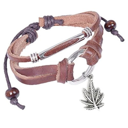 Leather Bracelet with Dangling Marijuana Leaf / Pot Leaf Emblem Decal Wristlet / Wristband. 420 - Hemp Marijuana accessories for men or women. Novelty Marijuana Weed Jewelry (Slip Knot Pot Bracelet) (Dangling Marijuana Leaf Bracelet)