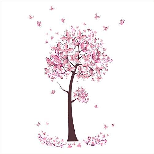 Wallpaper Border Butterfly Pink (1 Pack Pink Butterfly Flower Tree Wall Stickers Decals Mural Vinyl Wallpaper Home Living Room Bedroom Princess Nursery Optimum Popular Dream World Moon Star Ocean Sun Removable Window Art Decor)