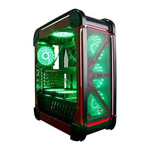 CUK Switch 77 - Gamer VR Ready Desktop (AMD Ryzen 7 2700X Eight-Core, 16GB RAM DDR4, 256GB SSD + 2TB HDD, AMD Radeon RX 580 4GB, 520W PSU) Best Windows 10 Gaming Computer PC - Red