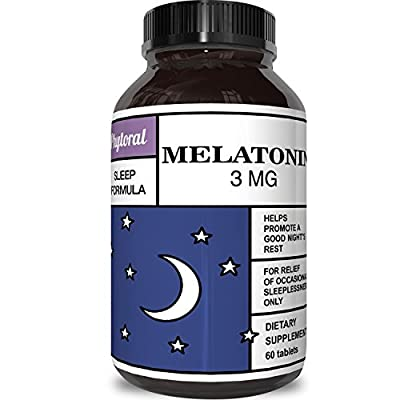 Best All Natural Sleep Aid – Pure Melatonin Supplement – Gentle 3mg Dosage – Fall Asleep Fast + Easier – Deep Calm + Restful Circadian Rhythms – Non Habit Forming Sleep Cycle Hormone
