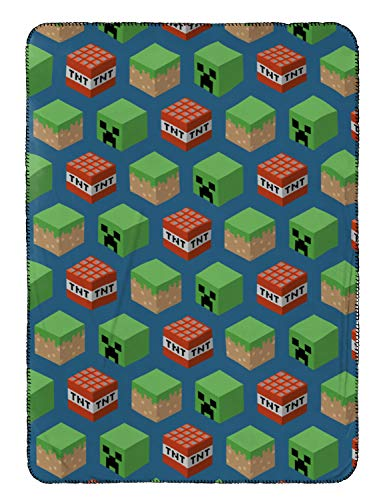 Jay Franco Mojang Minecraft Travel Blanket - Measures 40 x 50 inches, Kids Bedding Features Mineral Blocks - Fade Resistant Super Soft Fleece - (Official Mojang Product) -