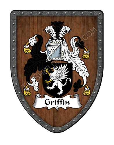 (Griffin Family Crest Custom Coat of Arms, Family Ancestry and Heritage Hanging Metal Shield - Hand Made in the USA)