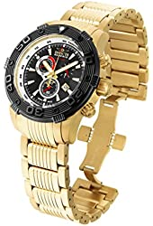 Invicta Men's Reserve Gold-Tone Steel Bracelet & Case Swiss Quartz Black Dial Analog Watch 19592