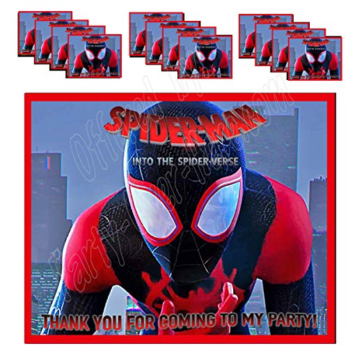 Spiderman Stickers Into The Spider Verse Party Favors Supplies Decorations Gift Bag Label Stickers ONLY 3.75