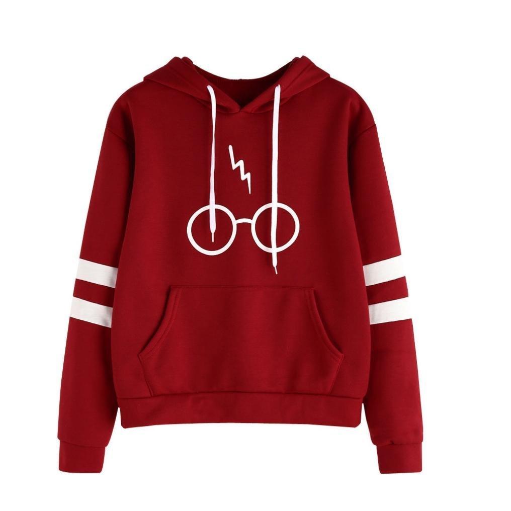 AMSKY Women Teen Girls Hoodie,Glasses Lightning Print Stripe Long Sleeve Sweatshirt Hooded Pullover Tops Blouse with Pockets (L, Red) by AMSKY (Image #1)