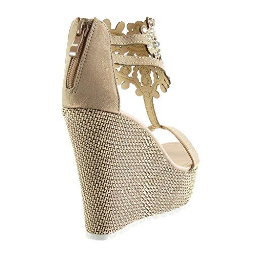Plataforma Moda Angkorly Correa Sandalias Bordado Mujer Tal Joyas Zapatillas wxSSZ4