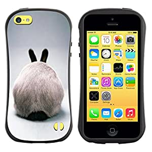 Paccase / Suave TPU GEL Caso Carcasa de Protección Funda para - Rabbit Hare Bunny White Ears Furry Grey - Apple Iphone 5C