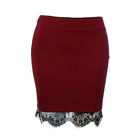 QZBTU Faldas Mujer Falda De Cintura Alta con Encaje Elástico Falda ...