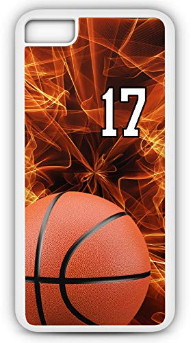 iPhone 7 Plus 7+ Case Basketball BK010Z Choice of Any Personalized Name or Number Tough Phone Case by TYD Designs in White Plastic and Black Rubber with Team Jersey Number 17 (Necklace Fabric Jasper)